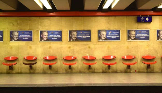 The anti-Soros posters blanketing Budapest metro stations. The government-led ad campaign included billboards, posters and TV ads