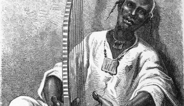 Illustration of Gary, a West African troubadour, from the book 'Sailing to Western Sudan' 1897.