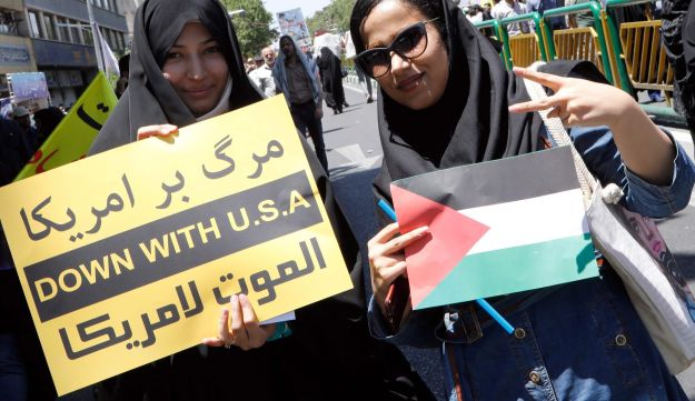 Iranians take part in a rally marking al-Quds Day in Tehran, June 23, 2017.