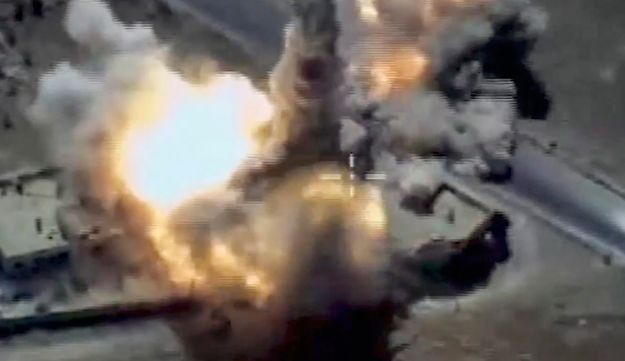 A missile launched by a Russian Navy ship in the eastern Mediterranean hits a target in Syria, June 23, 2017.