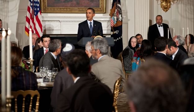 Then-President Barack Obama speaking at a White house iftar meal in August 2010.