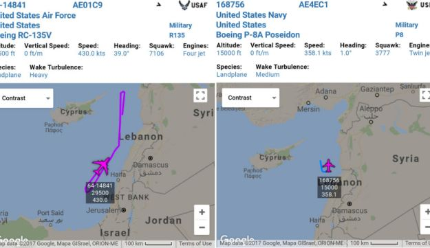 The RC-135 Rivet Joint (L) and P-8 Poseidon tracking off Syria