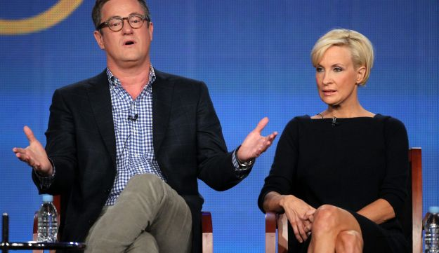 FILE PHOTO: Joe Scarborough and co-host Mika Brzezinski speaking onstage during the 'Morning Joe' panel. January 6, 2012