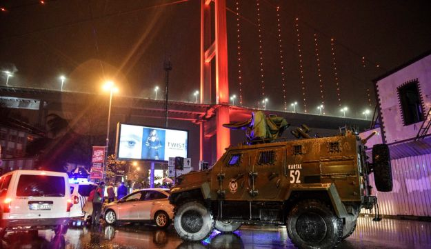 An armoured police vehicle blocks a road leads to a nightclub where a gun attack took place during a New Year party in Istanbul, Turkey, January 1, 2017.