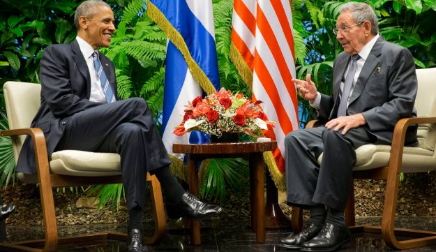 President Barack Obama, left, meets with Cuban President Raul Castro at the Palace of the Revolution, Monday, March 21, 2016, in Havana, Cuba.