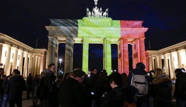 The Brandenburg Gate is illuminated with the Belgian national flag in reaction to the Brussels attacks, Berlin, Germany, March 22, 2016.