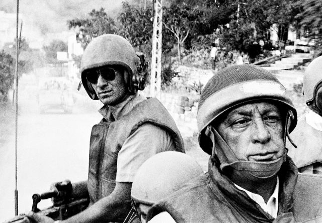 Ariel Sharon as defense minister in June 1982, outside Beirut.