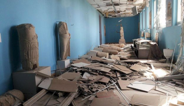 A view shows damaged artifacts inside the museum of the historic city of Palmyra, after forces loyal to Assad recaptured the city, Palmyra, Syria, March 27, 2016.
