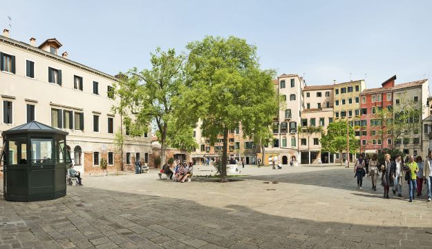 The main square of the Venetian Ghetto, shown in modern times.