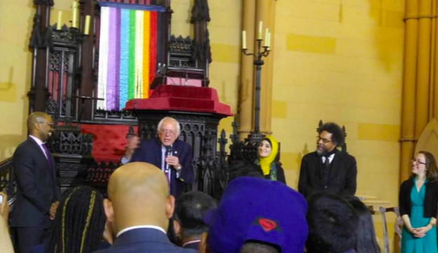 L-R: Sanders, Linda Sarsour, Cornel West and Rabbi Sara Luria at the  panel discussion on faith and social justice on Saturday, April 16, 2016.