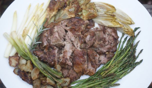 Spring lamb with roasted vegetables