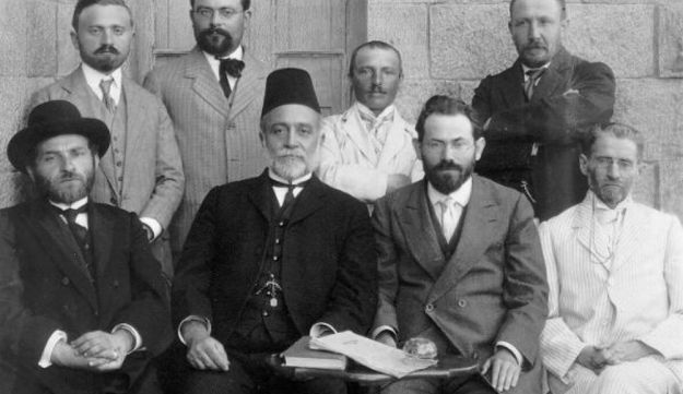 Kadish Yehuda Silman, top row, second from right, and the other members of the First Hebrew Language Committee.