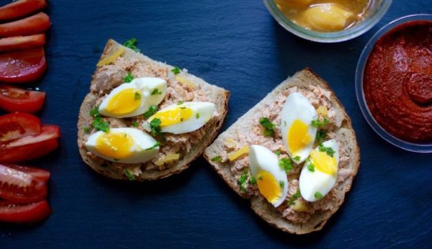 Tunisian-style tuna and preserved lemon open-faced sandwich.