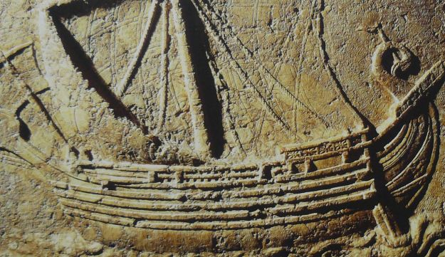 A Phoenician ship carved on the face of a sarcophagus. 2nd century AD.