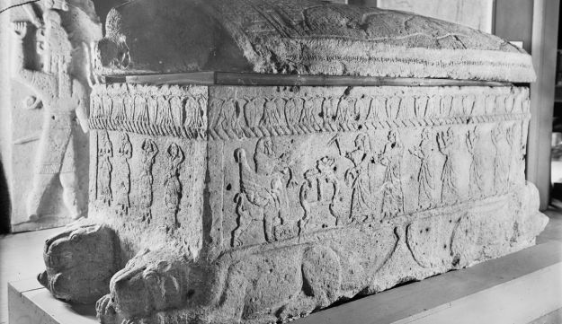 Sarcophagus of Ahiram (c. 1200 BC), found in Byblos. It was on this sarcophagus that the first inscription in the Phoenician alphabet was found.
