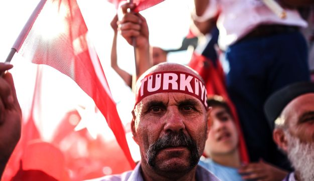 A man wears a headband reading 'Turkey' during a rally against the failed military coup of July 15 in Istanbul, Turkey, August 7, 2016.