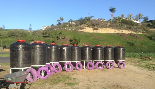 Encinita farm school (north of San Diego)- recently imported settling tanks from Israel, to utilize rainwater.