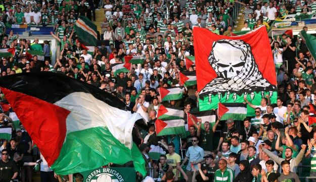 Celtic fans at the playoff match against Hapoel Be'er Sheva.