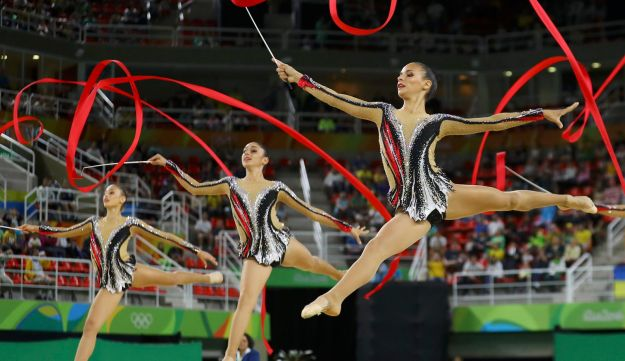 Israel's rhythmic gymnastics team compete using ribbons at the Summer Olympics in Rio de Janeiro, Brazil, August 21, 2016.