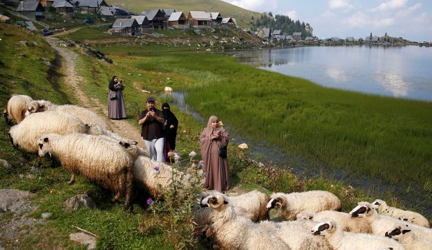Tourists from the Middle East take pictures of sheep on the Prokosko Lake near Fojnica, Bosnia and Herzegovina, August 20, 2016.