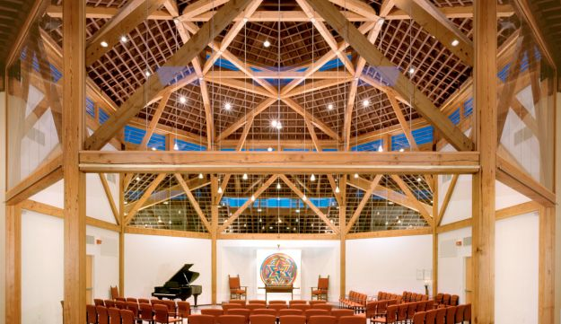 Congregation Beth Shalom Rodfe Zedek, the synagogue in Chester co-designed by Sol LeWitt. The Magen David painting on the front of the Torah ark is his.