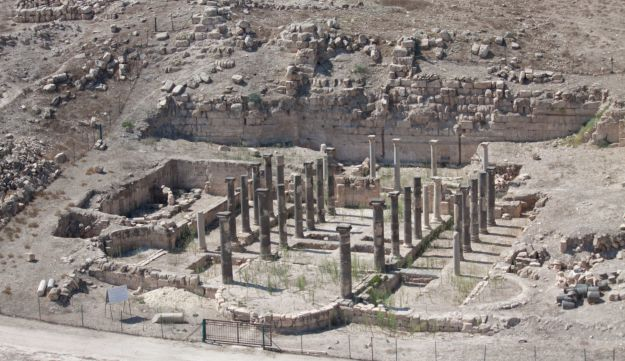 Aerial view of Tell al-Abila, showing columns in the remains of a basilica.