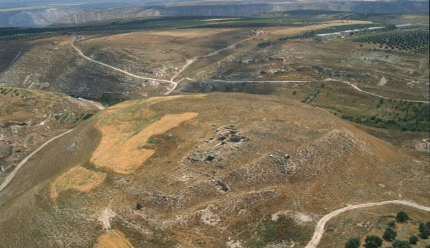 Ariel view of the north area of Tell al-Abila, showing the remains of the Byzantine church.