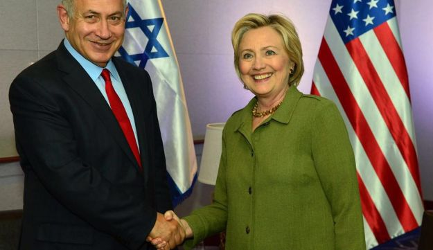 Democratic President candidate Hillary Clinton (R) shaking hands with Israel Prime Minister Benjamin Netanyahu after a meeting at the W Hotel on Union Square September 25, 2016 in New York, New York.