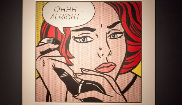 """""""Ohhh...Alright...,"""" a 1964 painting by Roy Lichtenstein sits on display during a fall auction preview at Christie's in New York, U.S., on Friday, Oct. 29, 2010."""