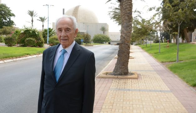 Shimon Peres at the Negev Nuclear Research Center, 2014.