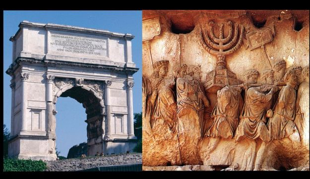 An image in the Foreign Ministry's brochure that shows the Arch of Titus, depicting the treasures from the Temple in Jerusalem.