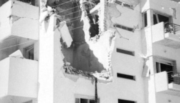 Damage to a building in Tel Aviv after the bombing.