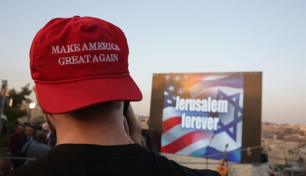 A Donald Trump supporter attends a rally in honor of the Republican candidate in Jerusalem on Wednesday, October 26, 2016.