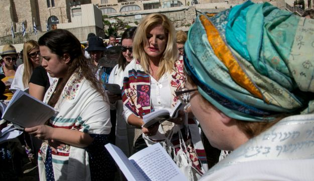 Women of the Wall members pray at the Western Wall in Jerusalem's Old City.