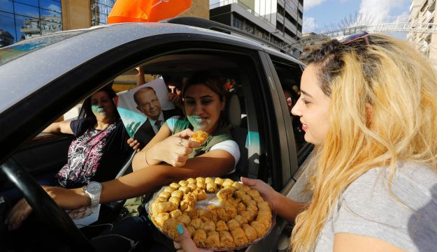 Celebrating the election of former general Michel Aoun as president, on October 31, 2016