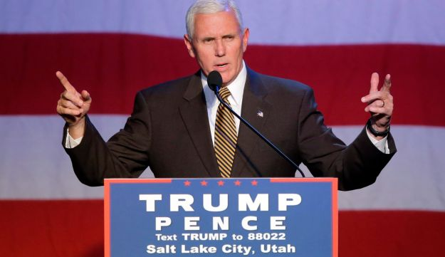 Vice presidential candidate Mike Pence trying to rally the Mormon vote in Salt Lake City, October 26, 2016.