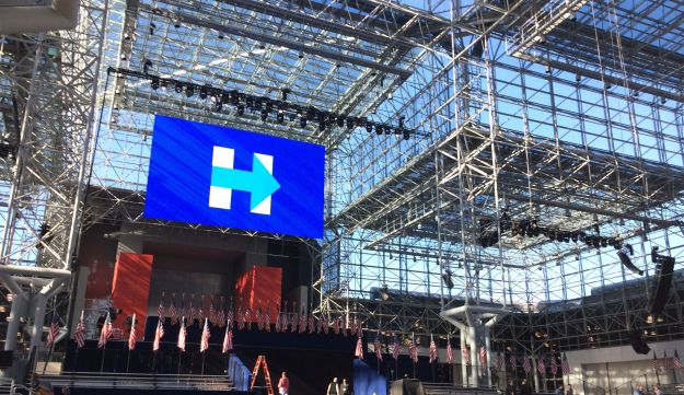 A general view inside the Jacob K. Javits Convention Center in New York on November 7, 2016 as workers prepare for Democratic presidential candidate Hillary Clinton's election night event.
