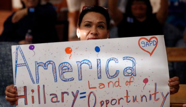 A supporter of Democratic presidential candidate Hillary Clinton attends a Democratic National Convention watch party in San Antonio, Texas on July 26, 2016.