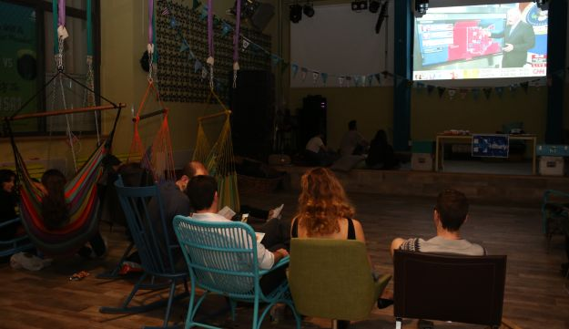 Democratic Party supporters watching the election at a hostel in Tel Aviv, November 9, 2016.