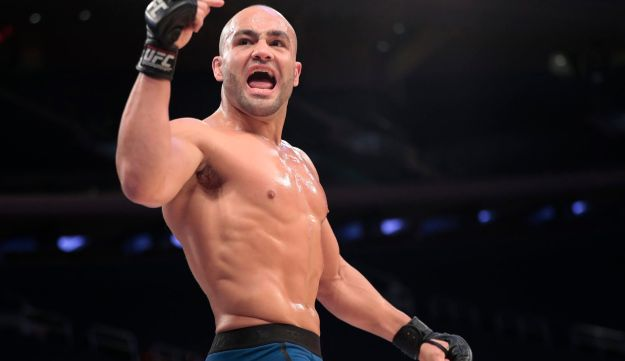 Eddie Alvarez acknowledges fans while working out ahead of his UFC 205 mixed martial arts bout against Conor McGregor during an open workout, Wednesday, Nov. 9, 2016, at Madison Square Garden in New York.