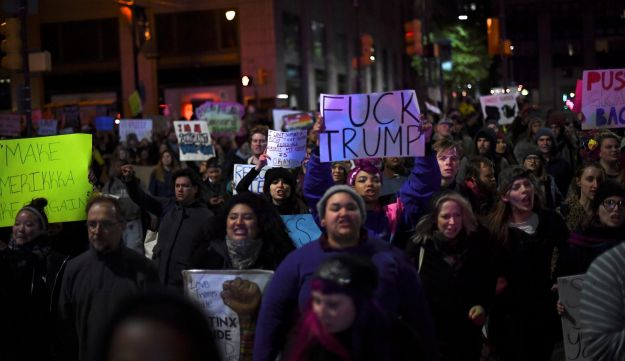 Protestors march against Republican Donald Trump's victory in Tuesday's U.S. presidential election in Philadelphia, Pennsylvania, U.S. November 9, 2016.