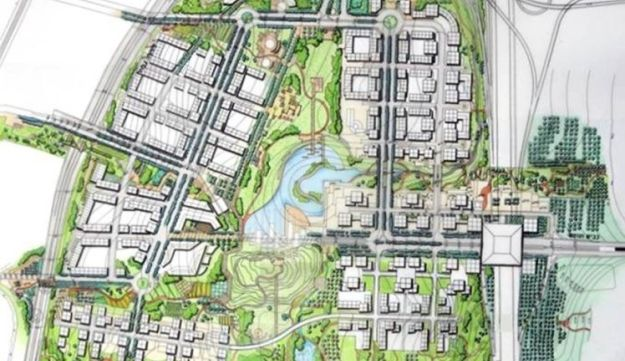 Plans for a potential new neighborhood at Pi Glilot South, with parkland at the center.
