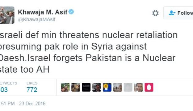 Fake news causes Pakistan's Defense Minister Khawaja Muhammad Asif to threaten Israel with nuclear war