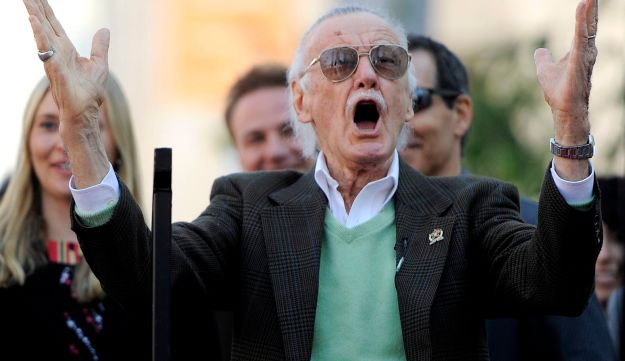 Comic book creator Stan Lee reacts after he was introduced at a ceremony to award him a star on the Hollywood Walk of Fame in Los Angeles, Tuesday, Jan. 4, 2011.