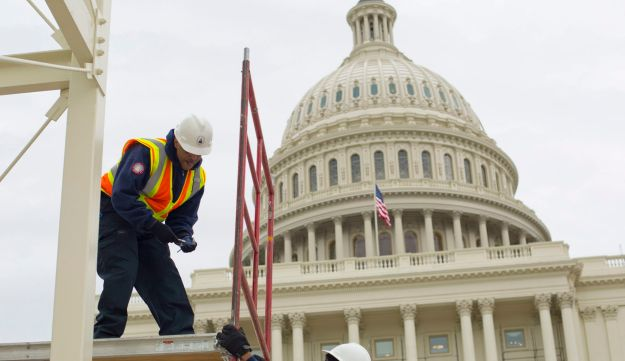 Construction continues in preparation for the inauguration of President-elect Donald Trump on the Capitol steps in Washington on Dec. 8, 2016.