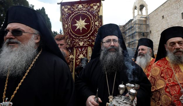 Greek Orthodox Patriarch of Jerusalem Theophilos III arrives in Bethlehem January 6, 2018