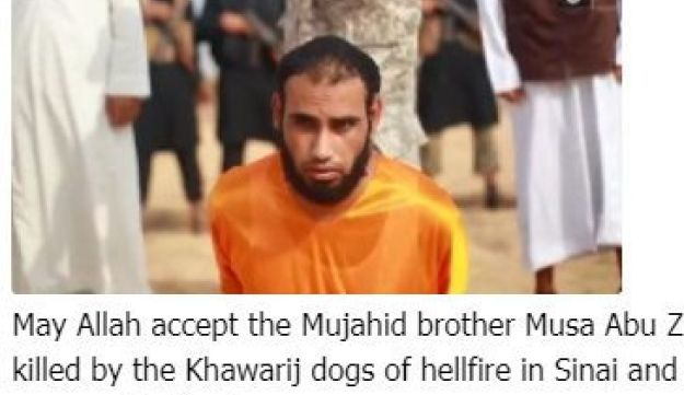Post on a jihadi Telegram channel denouncing the 'Khawarij dogs of hellfire' ISIS' execution of a Hamas member in Sinai