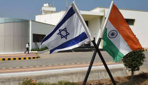 The national flags of Israel and India near Ahmedabad, India, ahead of Netanyahu visit, on January 12, 2018