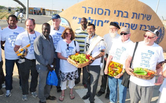 Rabbi Susan Silverman, center, at the Holot detention center for African asylum seekers, May 2015.