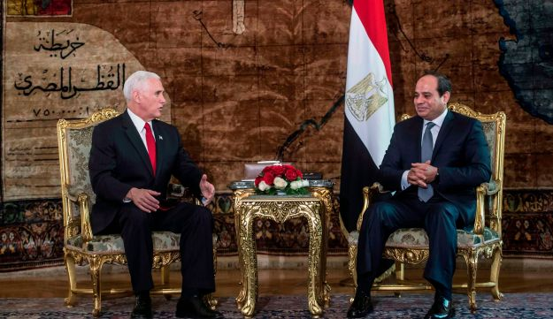 U.S. Vice President Mike Pence meets with Egyptian President Abdel Fattah al-Sisi (unseen) at the Presidential Palace in the capital Cairo on January 20, 2018.